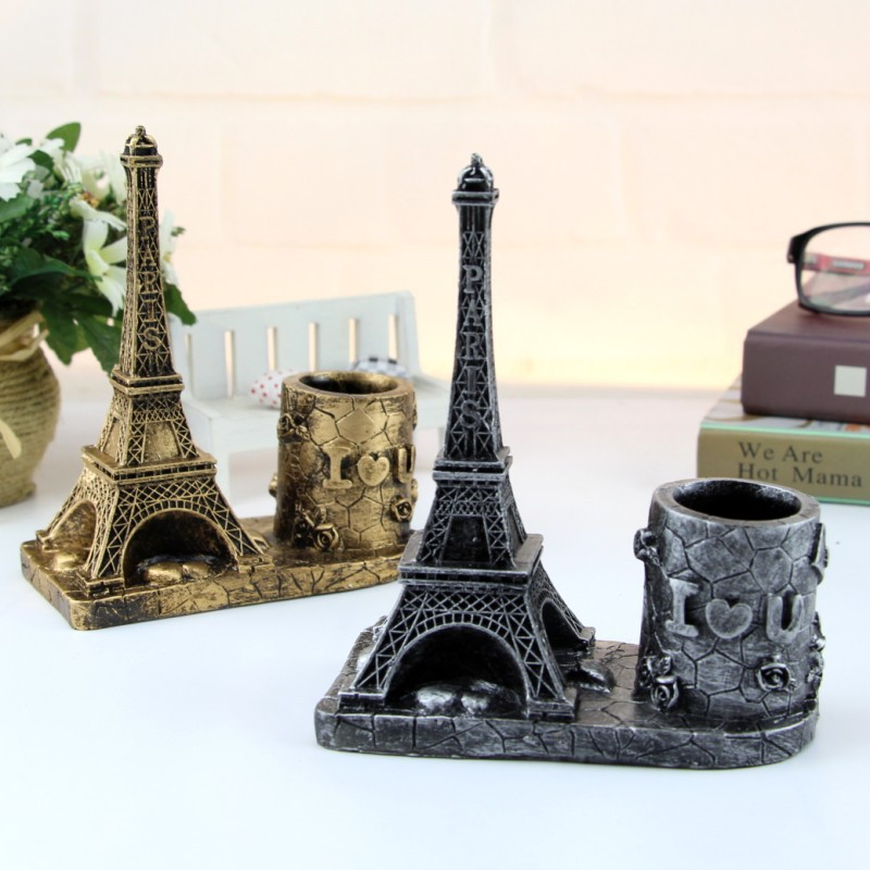 Vintage Eiffel Tower Pen Holder European Style Tower Pencil Holder as Desk Pen Organizer eiffel tower