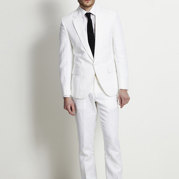 Linen Slim Fit White Men Suits Wedding Groom Wear Tuxedos 2 Pieces (Jacket+Pants) Bridegroom Prom Suits Costume Homme Blazer