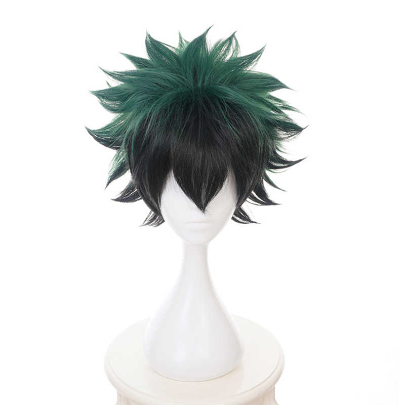 My Hero Academia Midoriya Izuku Green Black Short Wig Cosplay Costume Boku no Hero Academia Heat Resistant Hair Men Women Wigs
