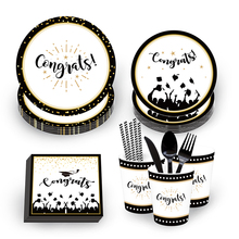 OHEART Graduation Party Decorations Set Black Gold Plates Napkin Cups Disposable Tableware Grade Celebrate Favors