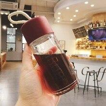 Klare Körper Sakura Buchstaben Glas Wasserflasche mit Gürtel Modische und Tragbare Dicht Glas Wasserkocher 150 ml oder 200 ml SH78