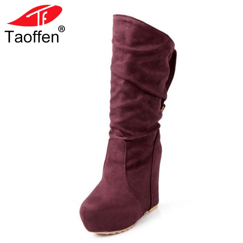 Taoffen Women Winter Wedges Boots Buckle Platform Mid Calf Boots Warm Fur Shoes Women Sexy Lady Party Footwear Size 34-39 taoffen size 30 52 russia women round toe height increasing mid calf boots woman cross strap warm fur winter half shoes footwear