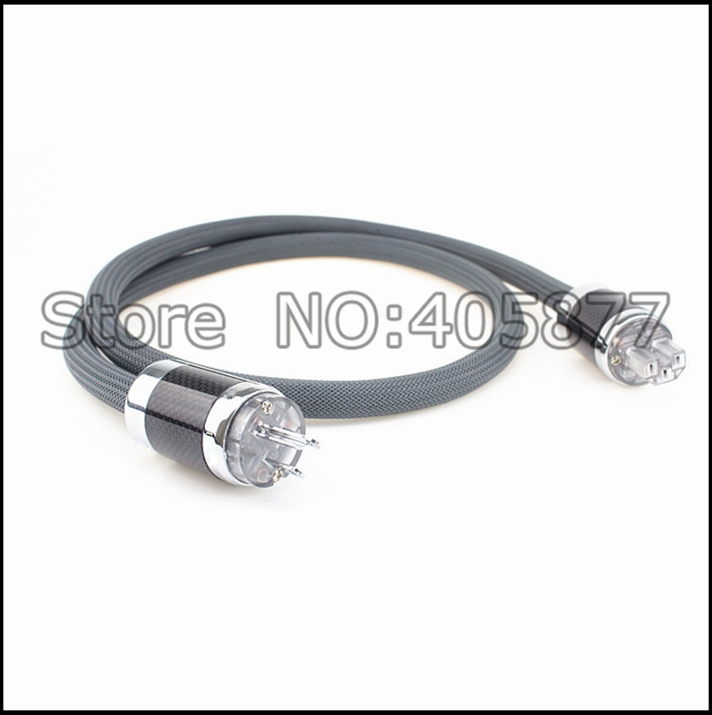 Hi End OFC Silver plated power cable with Carbon fiber Rhodium plated AC US power plug audio power cord cable    1
