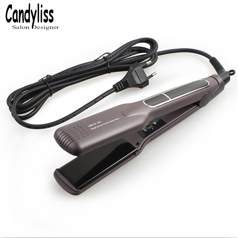 Korean Tourmaline Ceramic Fast heating Flat Iron Wide Plate Hair Straightener Curler Dual Voltage LED Floating