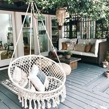 Нордический вязаный круглый подвесной гамак ручной работы для дома, спальни, маленьких детей, подвесное кресло, детские качели, домашний декор