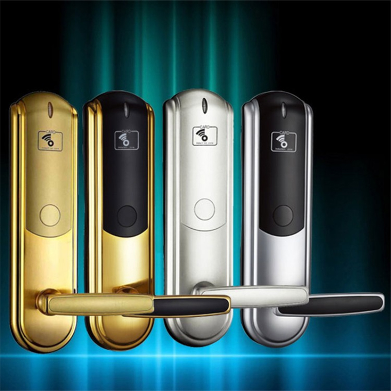 LK-08 smart IC card door lock hotel/apartment/office electromagnetic induction door lock gold/silver optional hotel lock system rfid t5577 hotel lock gold silver zinc alloy forging material sn ca 8037