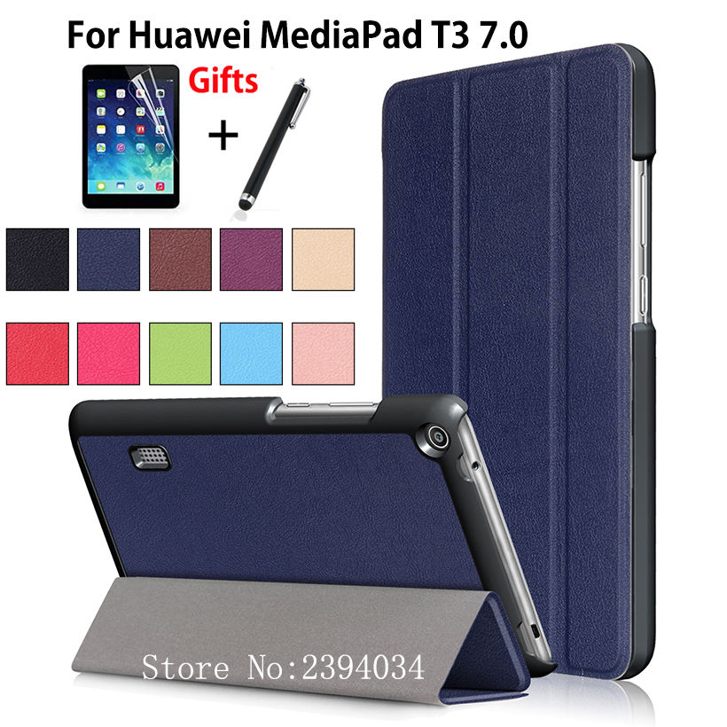 Ultra Slim Magnetic Case for Huawei MediaPad T3 7.0 BG2-W09 Smart Cover PU Stand Funda Tablet for Honor Play Pad 2 7.0 +Film+Pen folio slim cover case for huawei mediapad t3 7 0 bg2 w09 tablet for honor play pad 2 7 0 protective cover skin free gift