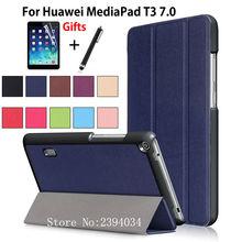 Caso Magnético Ultra Delgado para Huawei MediaPad T3 7.0 BG2-W09 Inteligente cubierta de la PU Del Soporte Funda Tablet para Honor Juego Pad 2 7.0 + Film + Pluma