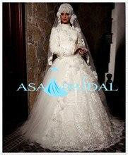 Elegant Embroided high neck Heavy beads Lace long sleeve Gelinlik Turkish Lace Muslim hijab bridal Wedding dress