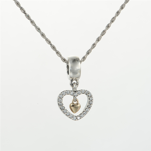 ad4868bda Light Yellow Gold Color Heart Pendant 925 Sterling Silver Heart Charms  Beads Fit Pandora Bracelets Necklace Women Diy Jewelry