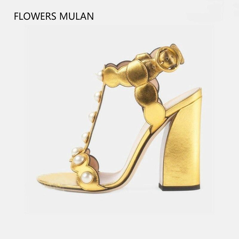Follwwith cuir véritable clouté avec perle or noir bride à la cheville femmes gladiateur sandales épaisses talons hauts grande taille 41 chaussures