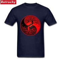 Custom Screen Printed Red And Black Tree Of Life Yin Yang T Shirt Mens Short Sleeved