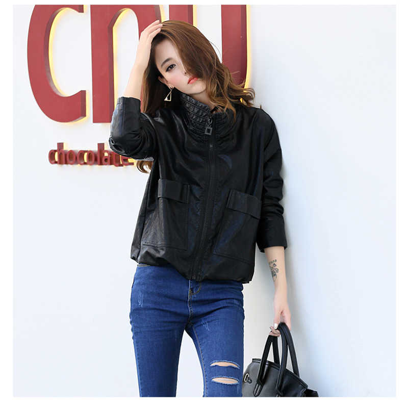 Leather Jacket Women Real Full Kulazopper Female Leather Jacket 2017 Autumn New Section Pu Coat Zipper Sleeve Outwear Qw489