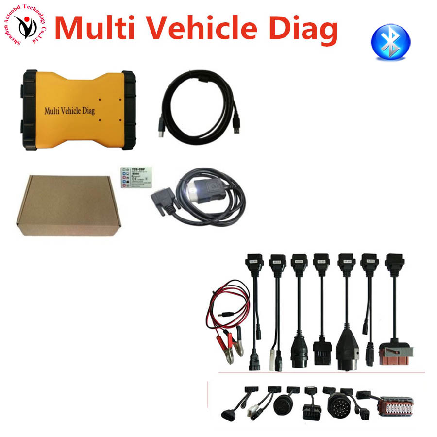 DHL!! Multi Vehicle Diag MVD 2015R3/2016R0 VD TCS CDP Pro LED 3IN1 Bluetooth + 8Pcs/Set Car Cables Connectors Diagnostic Tool