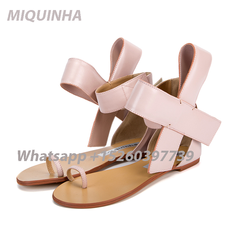 ФОТО New Arrival Light Pink Butterfly-Knot Women Sandal Sexy Beach Flat Sandals Sweet Style Ankle-Wrap Summer Shoes Big Bow Sandals