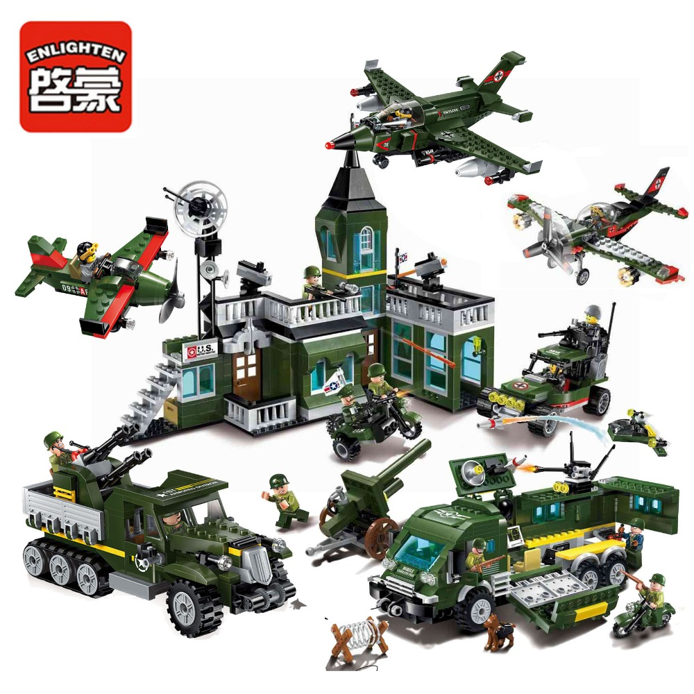 Military Building Block Battle Army Land Force Bombing Command Headquaters Educational Bricks Toy Boy Gift