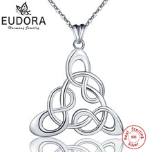 Eudora Genuine 925 Sterling Silver Infinity Love Triangle Pendant Good Luck Celtics Knot Necklaces Women Sterling Silver Jewelry eudora unique design 925 sterling silver celtics knot love pendant necklaces fashion women jewelry party wedding gift ksyd200