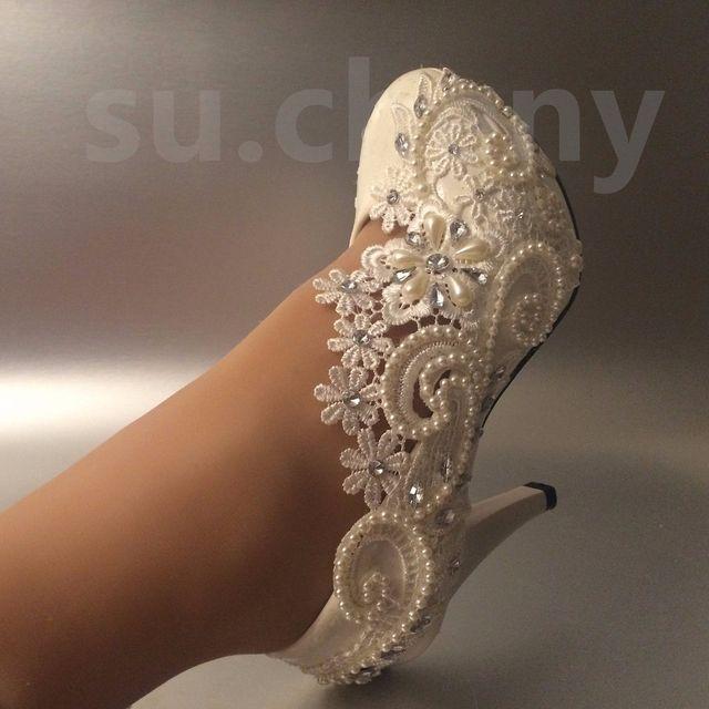 Encaje de Flores de Novia de La Boda Zapatos de la Boda Vestido Formal Solo con Mujeres Del Partido Del Envío libre