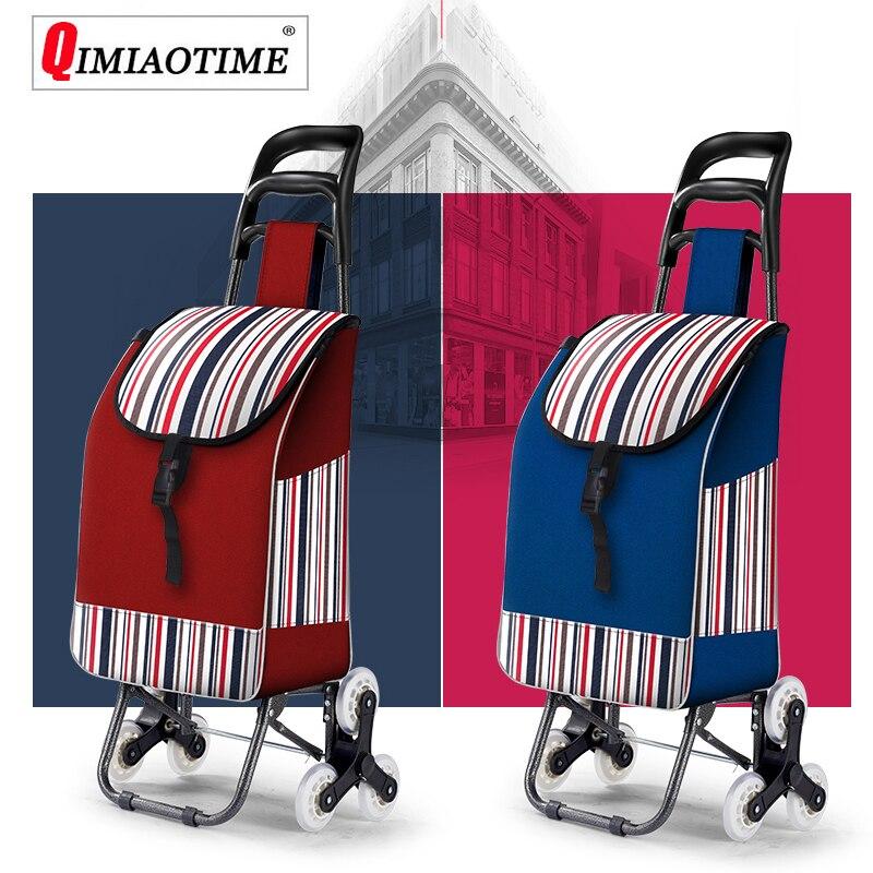 Grande Capacité Nylon Imperméable Rouleau Chariot Shopping Sac Pliage Panier Carritos Para La Compra Sac à Provisions Réutilisable