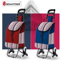 Large Capacity Nylon Waterproof Roller Trolley Shopping Bag Folding Shopping Cart Carritos Para La Compra Reusable Shopping Bag