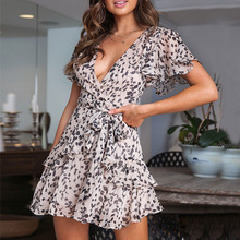 Women Summer Short Sleeve Print Chiffon Dress Sexy V-Neck Ruffled Chiffon Dress Loose vestidos de verano 2019 High Waist Dress цена