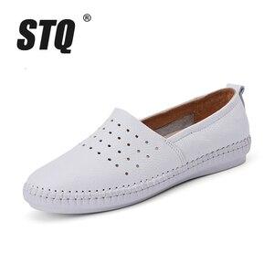 Image 2 - STQ 2020 Summer Women Flats Genuine Leather Ballet Flats Shoes Ladies Cutout Slip On Tenis Feminino Loafers Slipony Shoes B17