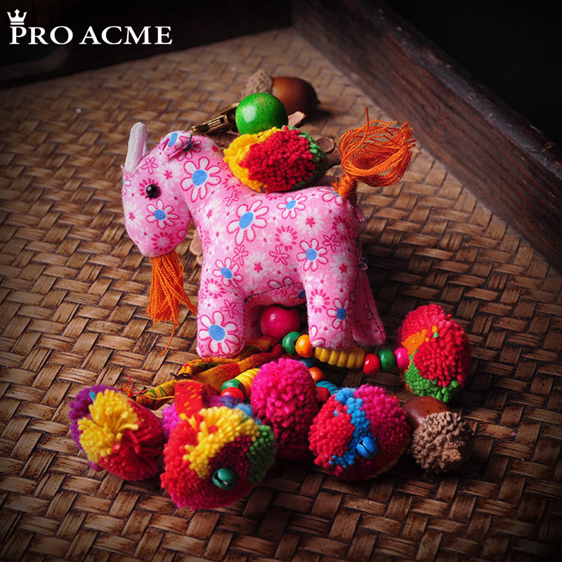 PRO ACME handmade Full color Cloth Cartoon Sheep & Donkey Keychain Bag Hanging Beads Tassel Key Chain Creative Gift PW42079