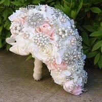Роскошные капает Искусственные цветы розетка Кристалл Букеты Свадебные 2017 жемчуг свадебный букет невесты Свадебные аксессуары