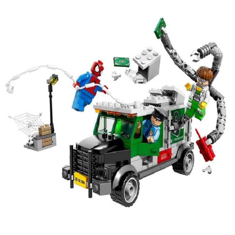 Bela 10239 Avengers Ultimate SpiderMan large Doc Ock Truck Heist children's educational toy Action Minifigures Building Blocks