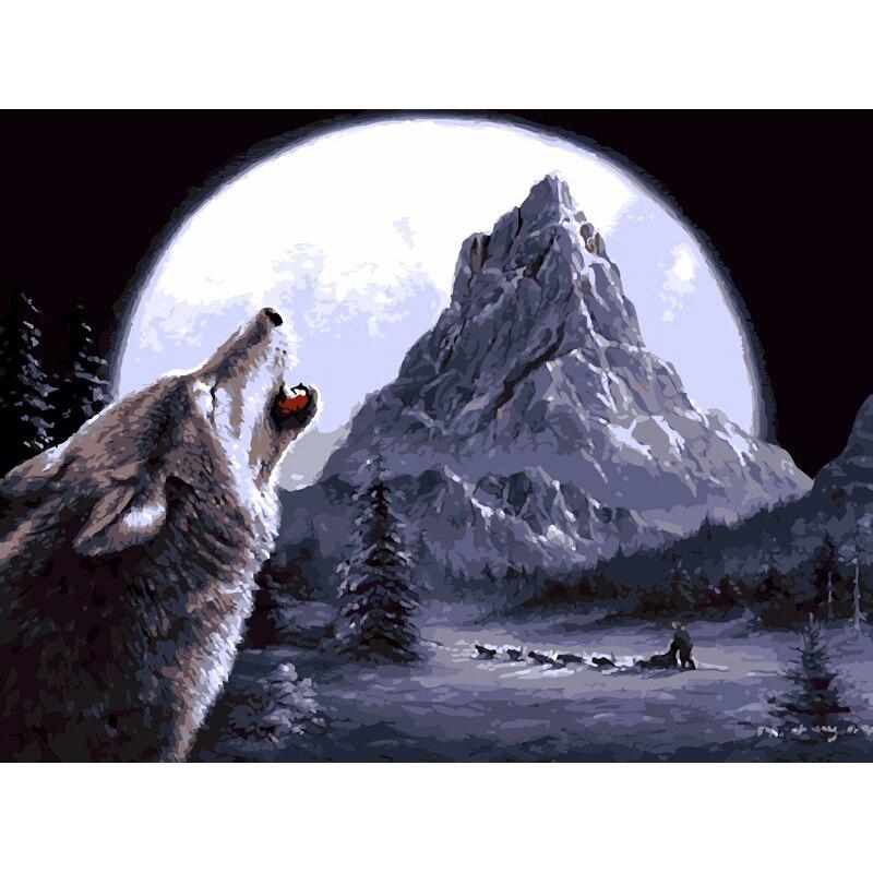 Pintura Por Números DIY Dropshipping 40x50 50x65cm Assobiando o lobo Animal Da Lona Decoração Do Casamento Da Arte imagem Presente