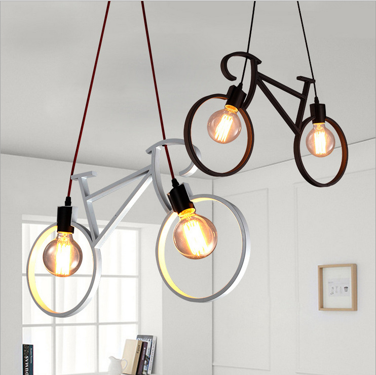 Nordic Modern Bicycle Iron LED Cafe Loft Ceiling Lamp Chandelier Light Droplight Bedroom Cafe Corridor Store Home Decor Gift стоимость