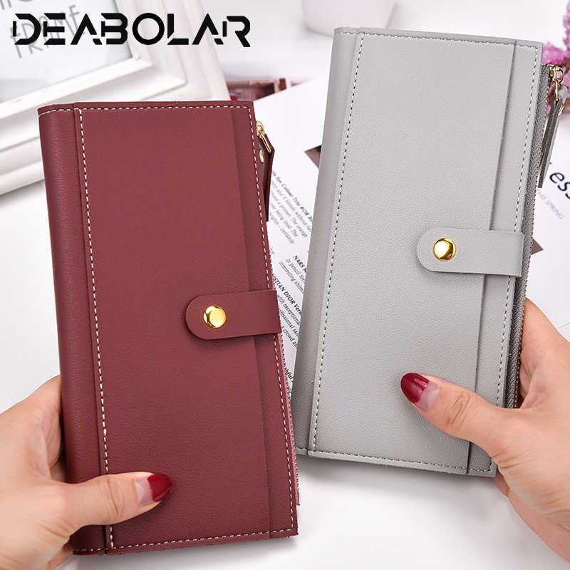 02e1c686284b9 Women long hand holding Wristband Large Capacity Wallets PU Fashion buckle Female  Purse Lady Purses Phone