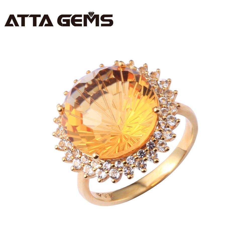 Citrine naturelle véritable 18 K or diamant bague ronde 13mm propre Citrine 18 K or jaune pierre gemme femmes mariage anneau feu d'artifice coupe