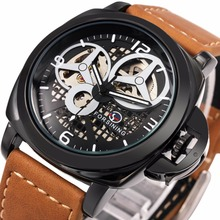 2016 New Black Men's Skeleton Watch Italy Antique Brown Genuine Leather Strap Automatic Skeleton Military Mechanical Wristwatch