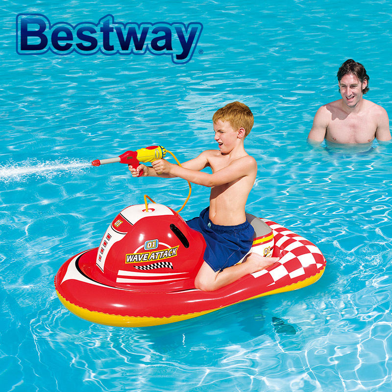 New Bestway Spray Gun Motorboat Swimming Ring Baby Kids  Mounts Inflatable Water Toys Air Mattress Life Ring For Children commercial sea inflatable blue water slide with pool and arch for kids