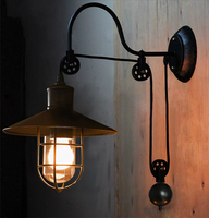 vintage Loft Antique iron Wall lamp Lift Retractable Pulley Wall Sconce Lighting for bedside Bar Cafe Light 110 240V
