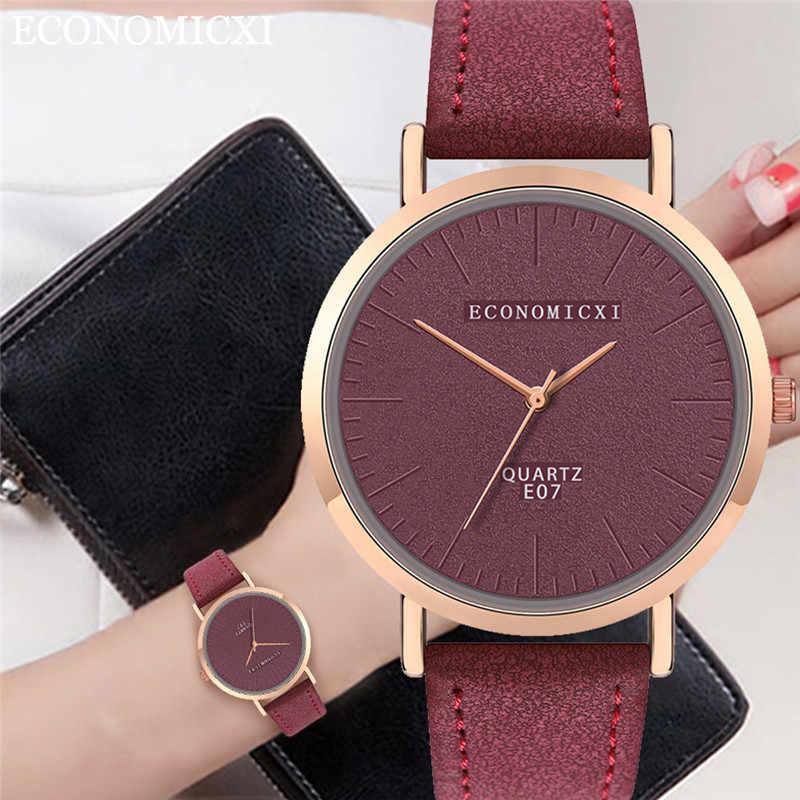 מגמת סגנון נשים שעון עור לא בקנה מידה ריק חיוג גבירותיי בנות שעון קוורץ שעונים Relogio Orologi דונה Relojes Mujer *