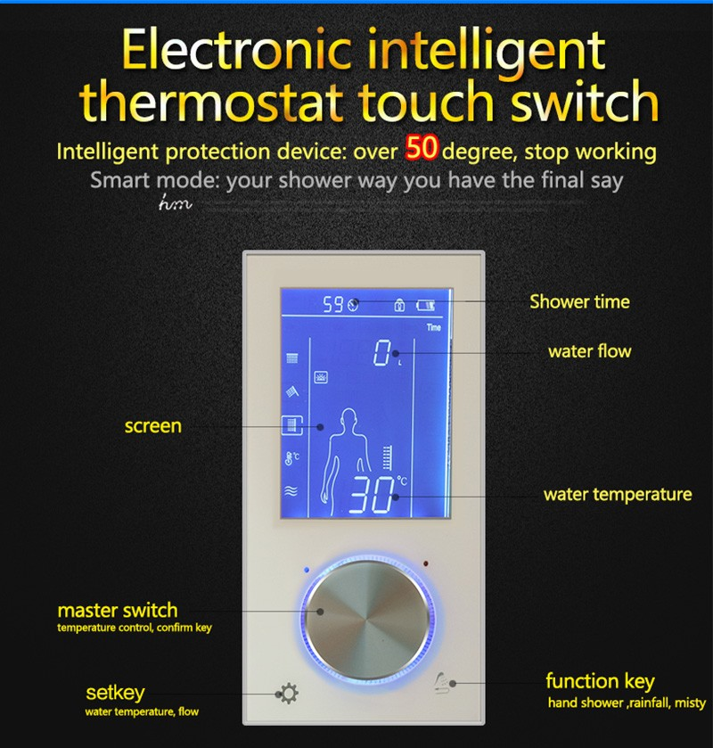 Digital Thermostat Waterfall Shower Controller Touch Control Panel Large SUS304 Rainfall Massage Bathroom Celling  (5)
