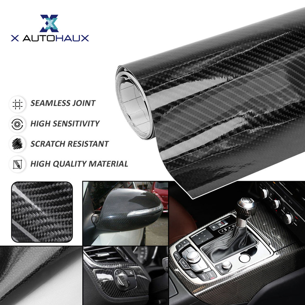 цена на X AUTOHAUX 6D Carbon Fiber Bubble Free Stretchable 152 x 30cm/60cm 300 x 50cm Black Universal Car Whole Body Vinyl Film Sticker