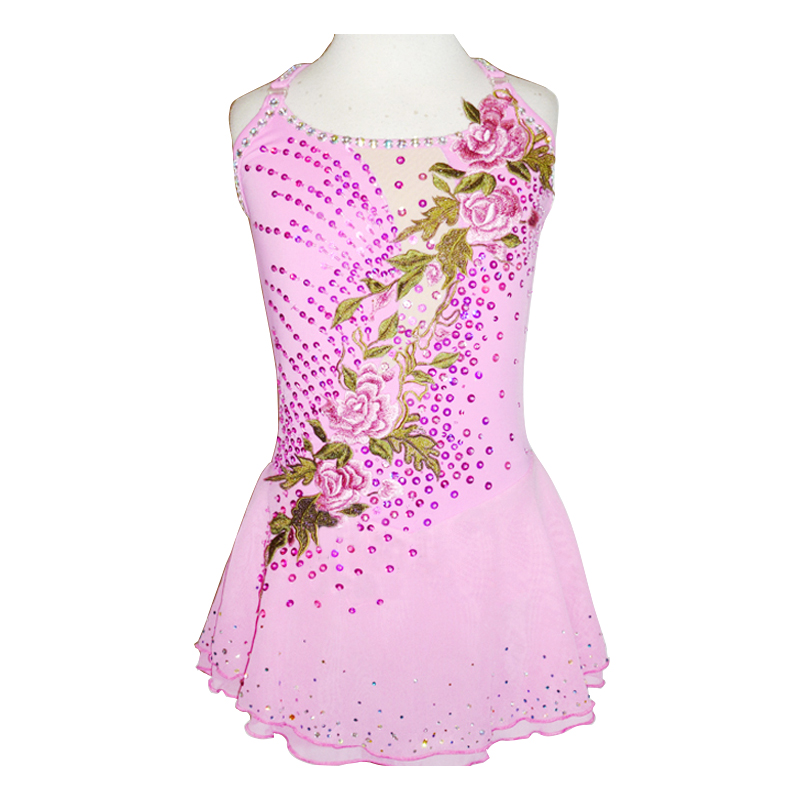 Customized Costume Ice skating dress Figure Skating Skirt Gymnastics Competition Adult Child Girl Performance Pink Embroidery customized costume ice figure skating gymnastics dress competition adult child girl pink skirt performance fold off shoulder