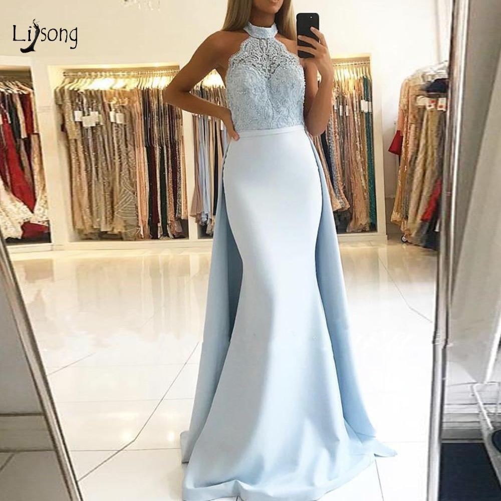 Elegant Lace Baby Blue Mermaid   Evening     Dresses   Detachable Train Halter Off Shoulder Long Prom Gowns Vestido De Formatura Longo