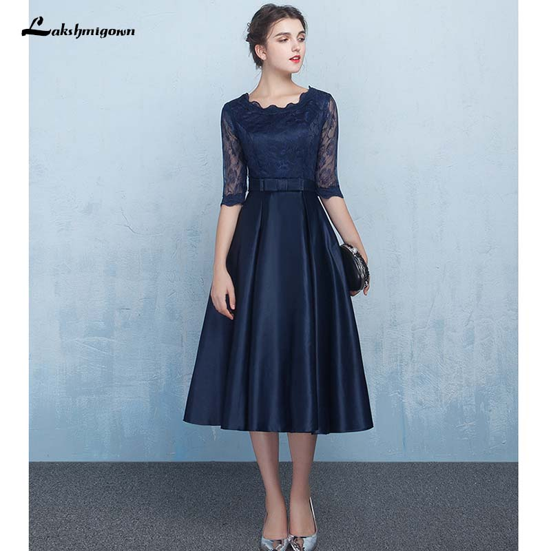 Elegant Navy Blue Lace Mother of the Bride Dresses Champagne Formal Women Evening Dress Zipper Back Knee Length Real Photos