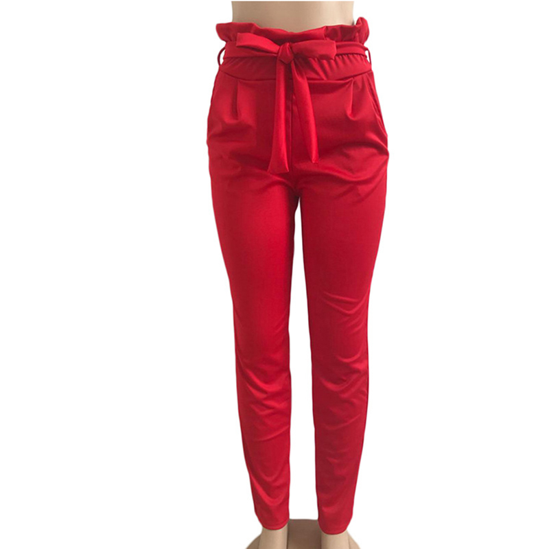 New 2019 Fashion Spring Vintage Bandage Casual Pants Women Pants Trousers Female Streetwear Capris Summer Pants