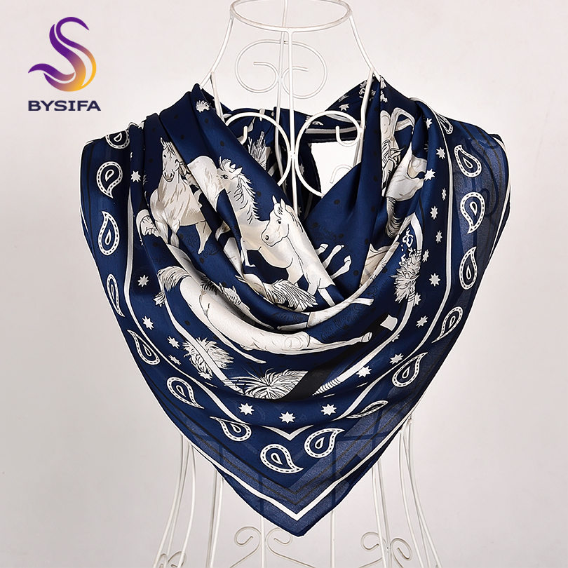 [BYSIFA] New Navy Blue Silk Scarf Shawl Fashion Horse Design Large Square Scarves Wraps Spring Autumn Muslim Head Cape 110*110cm