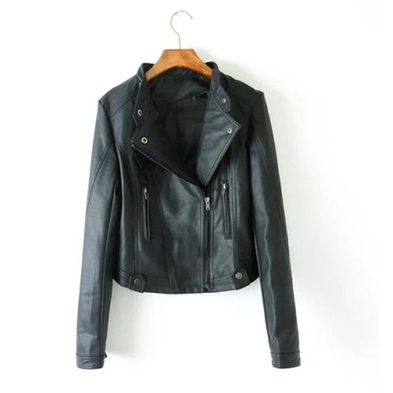 Новая мода Pu Biker для Для женщин воротник-стойка на молнии Повседневное Для женщин кожаная байкерская куртка Veste Для Женщин Осеннее Пальто Ко... ...