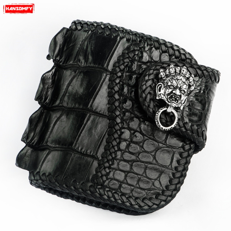 Handmade men s short wallet Black buckle wallet crocodile leather purses genuine leather retro casual card