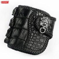 Handmade men's short wallet Black buckle wallet crocodile leather purses genuine leather retro casual card holder male wallets