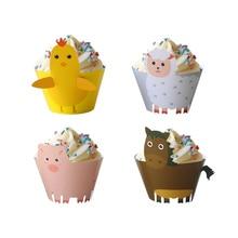 Décoration de fête danniversaire pour enfants, 12 ensembles danimaux de ferme, set moules à Cupcake en papier animaux de ferme, poulet, cheval, cochon, décoration de gâteau