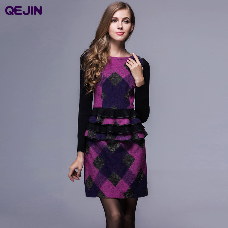 women's dresses wool dresses in winter long sleeve wool O neck wool thicken warm cashmere dresses Plus size High Quality