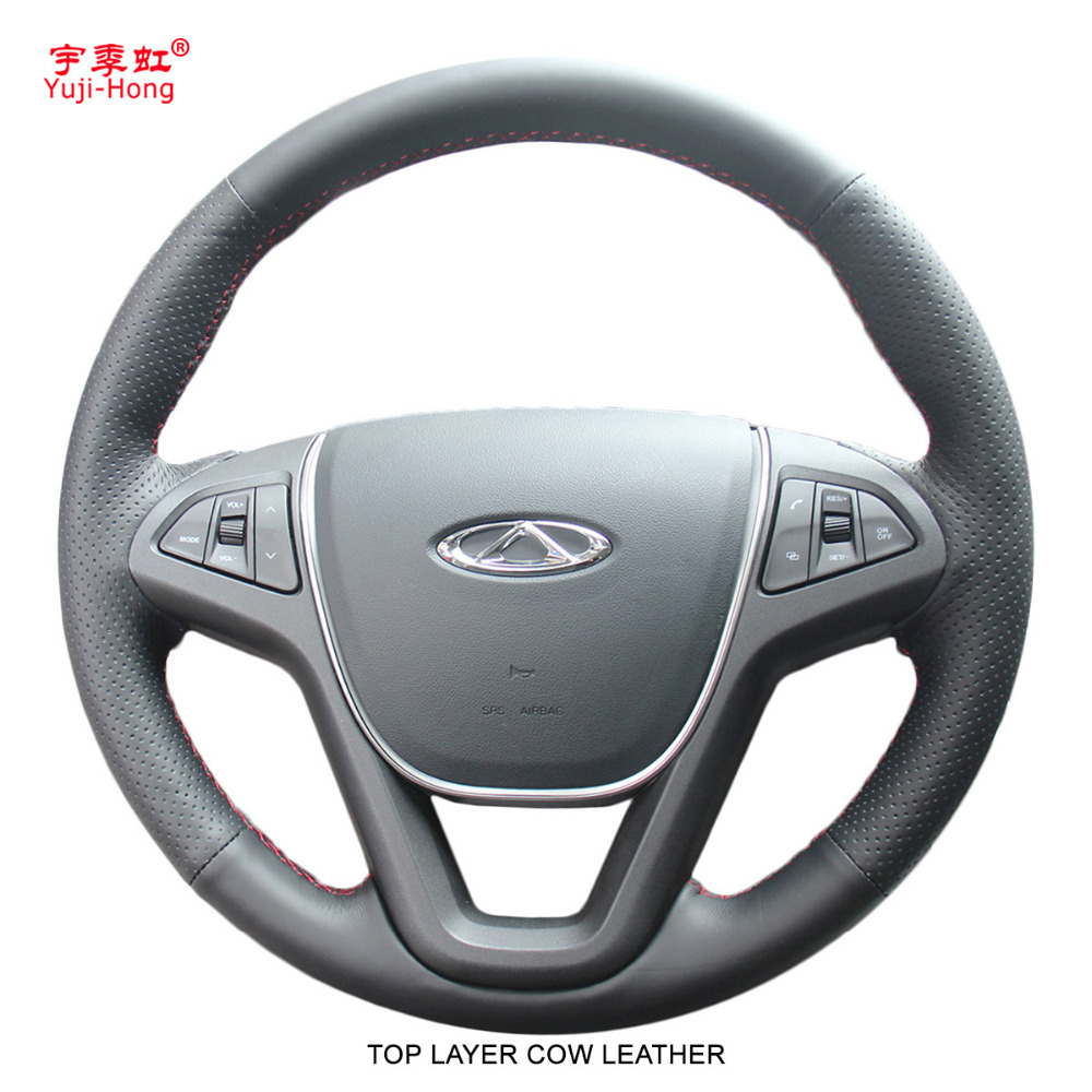 Yuji-Hong Top Layer Genuine Cow Leather Car Steering Wheel Covers Case for Chery Tiggo 5 2013-2016 Hand-stitched Steering Cover aosrrun car accessories sew genuine leather car steering wheel cover for chery tiggo 3 2011 2012 2013